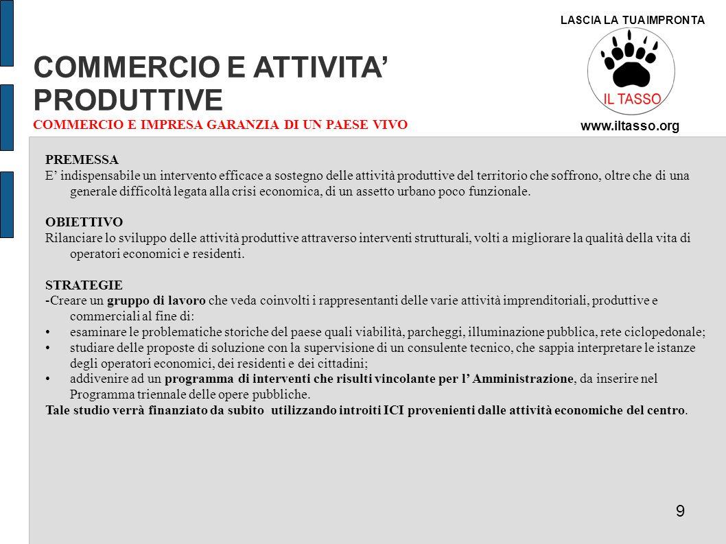 COMMERCIO E ATTIVITA' PRODUTTIVE