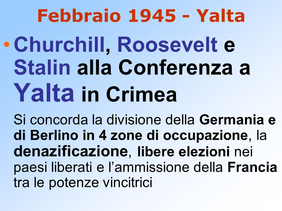 Churchill, Roosevelt e Stalin alla Conferenza a Yalta in Crimea