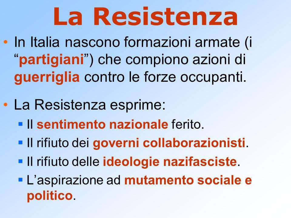 La Resistenza In Italia nascono formazioni armate (i partigiani ) che compiono azioni di guerriglia contro le forze occupanti.