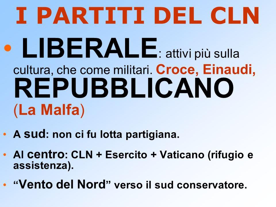 I PARTITI DEL CLN LIBERALE: attivi più sulla cultura, che come militari. Croce, Einaudi, REPUBBLICANO (La Malfa)