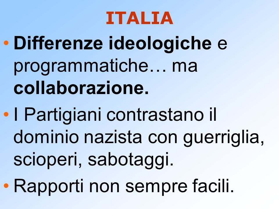 Differenze ideologiche e programmatiche… ma collaborazione.