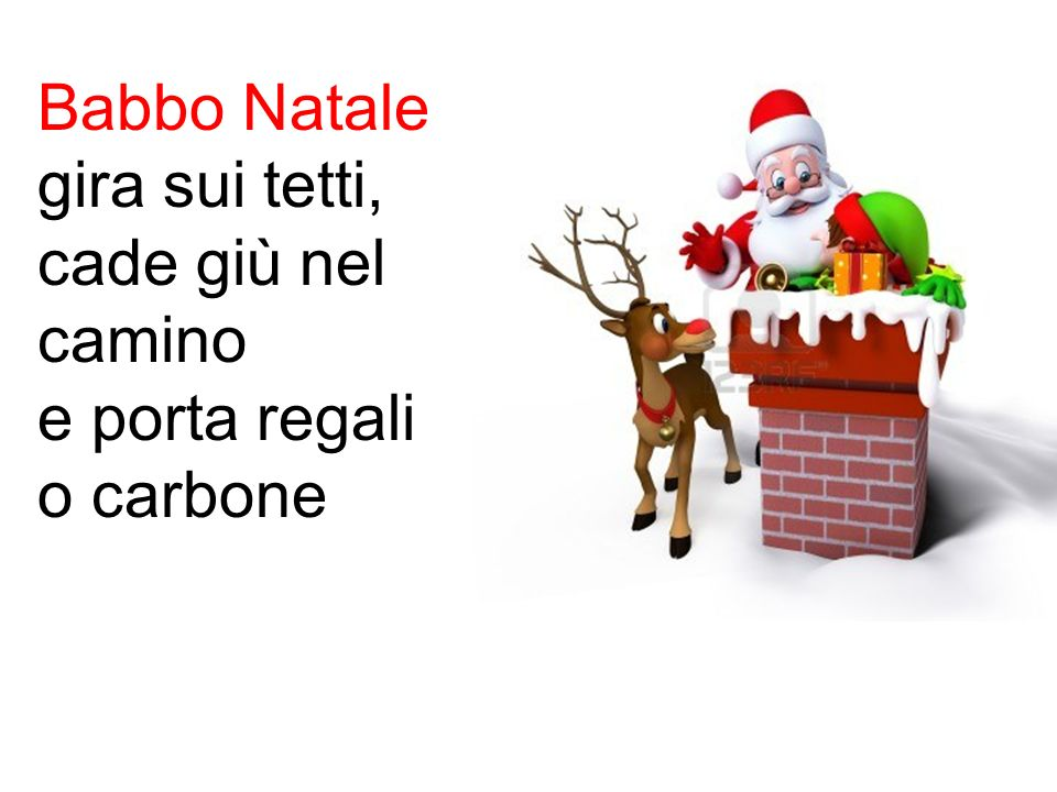 Babbo Natale gira sui tetti, cade giù nel camino e porta regali o carbone