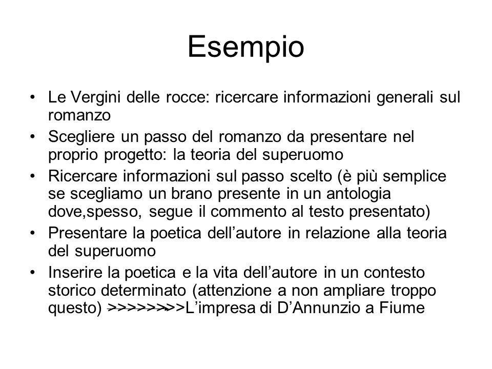 Esempio Le Vergini delle rocce: ricercare informazioni generali sul romanzo.
