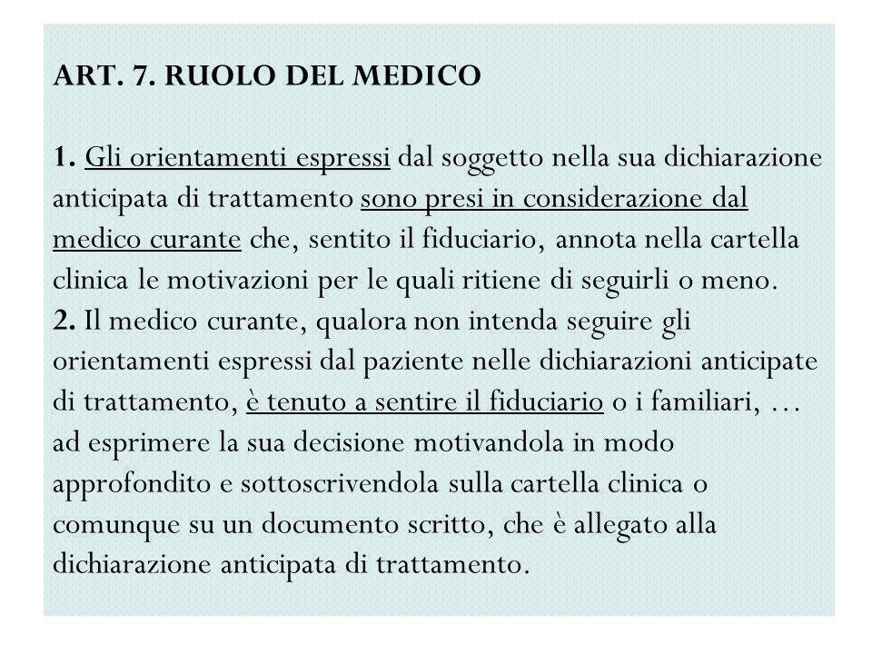 ART. 7. RUOLO DEL MEDICO 1.