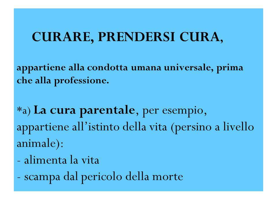 CURARE, PRENDERSI CURA, appartiene alla condotta umana universale, prima che alla professione.