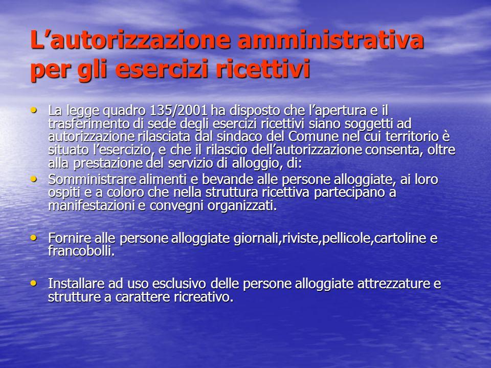 L'autorizzazione amministrativa per gli esercizi ricettivi