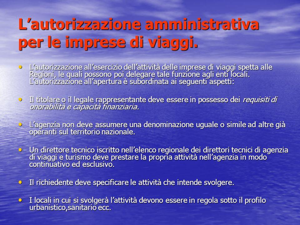 L'autorizzazione amministrativa per le imprese di viaggi.