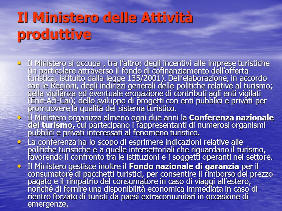 Il Ministero delle Attività produttive