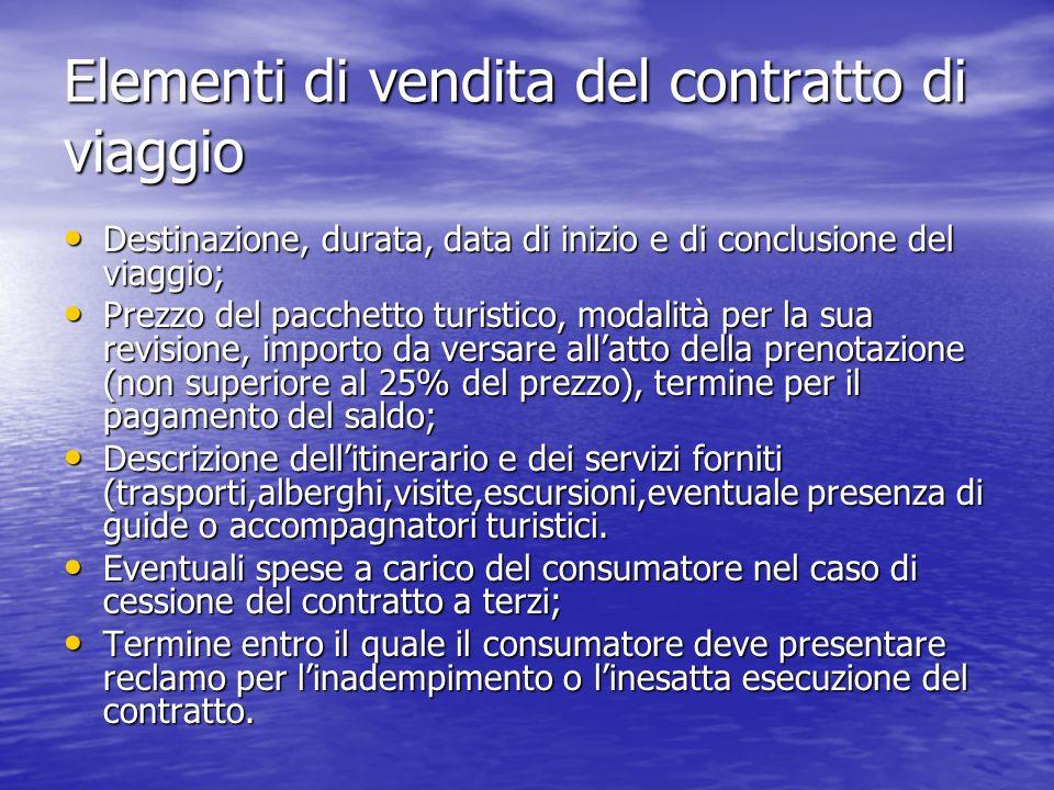 Elementi di vendita del contratto di viaggio