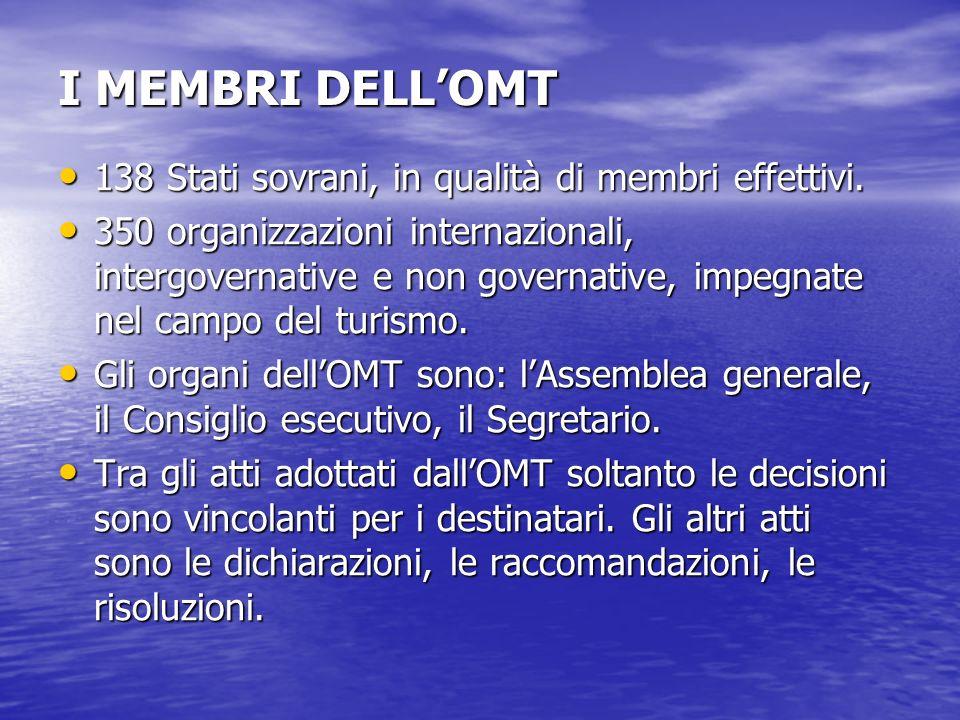 I MEMBRI DELL'OMT 138 Stati sovrani, in qualità di membri effettivi.