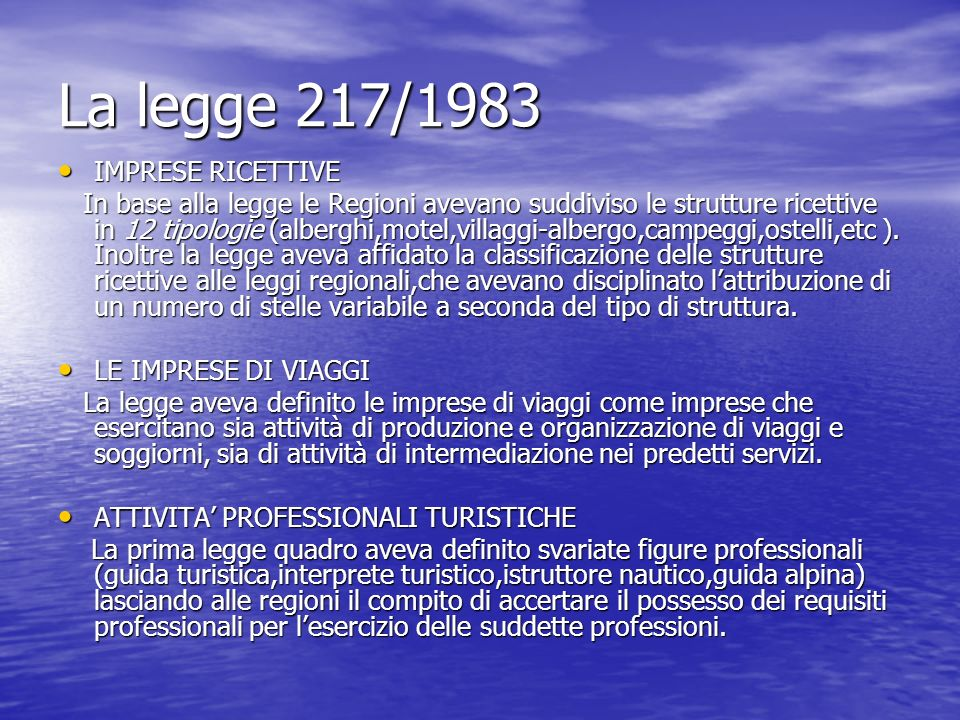 La legge 217/1983 IMPRESE RICETTIVE