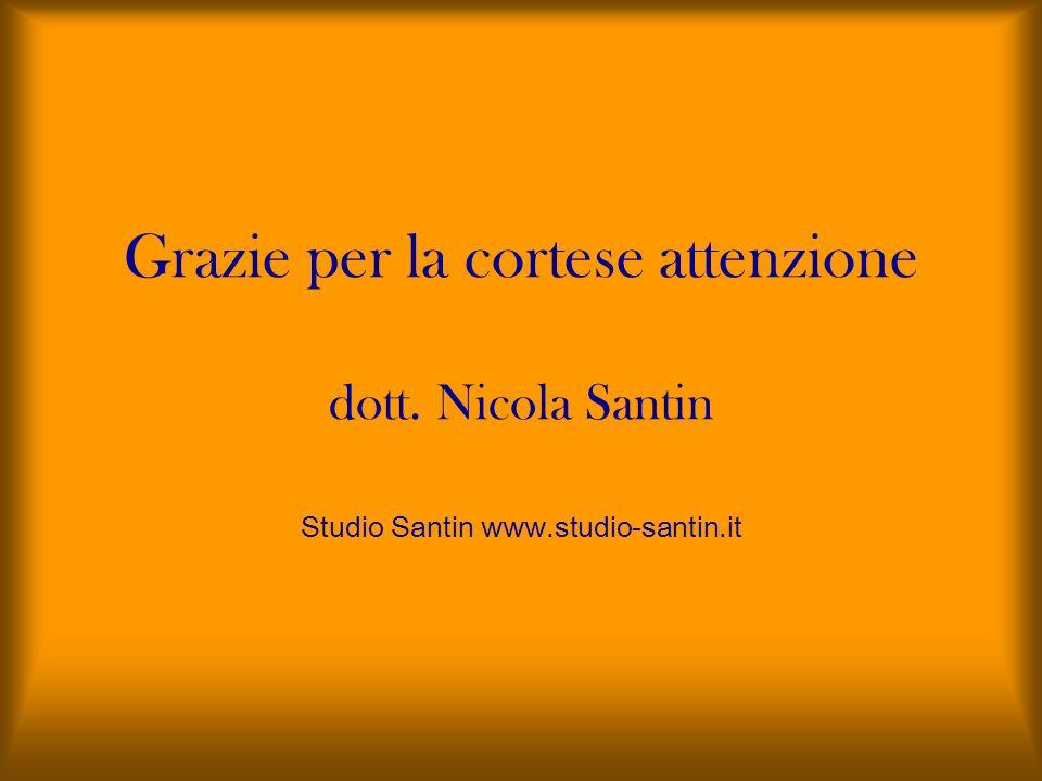 Grazie per la cortese attenzione dott. Nicola Santin Studio Santin www
