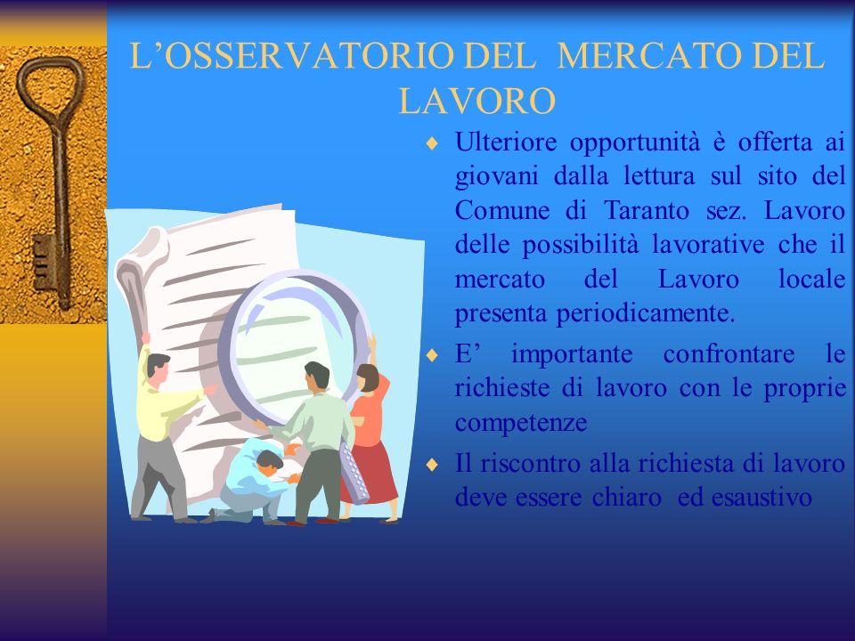 L'OSSERVATORIO DEL MERCATO DEL LAVORO