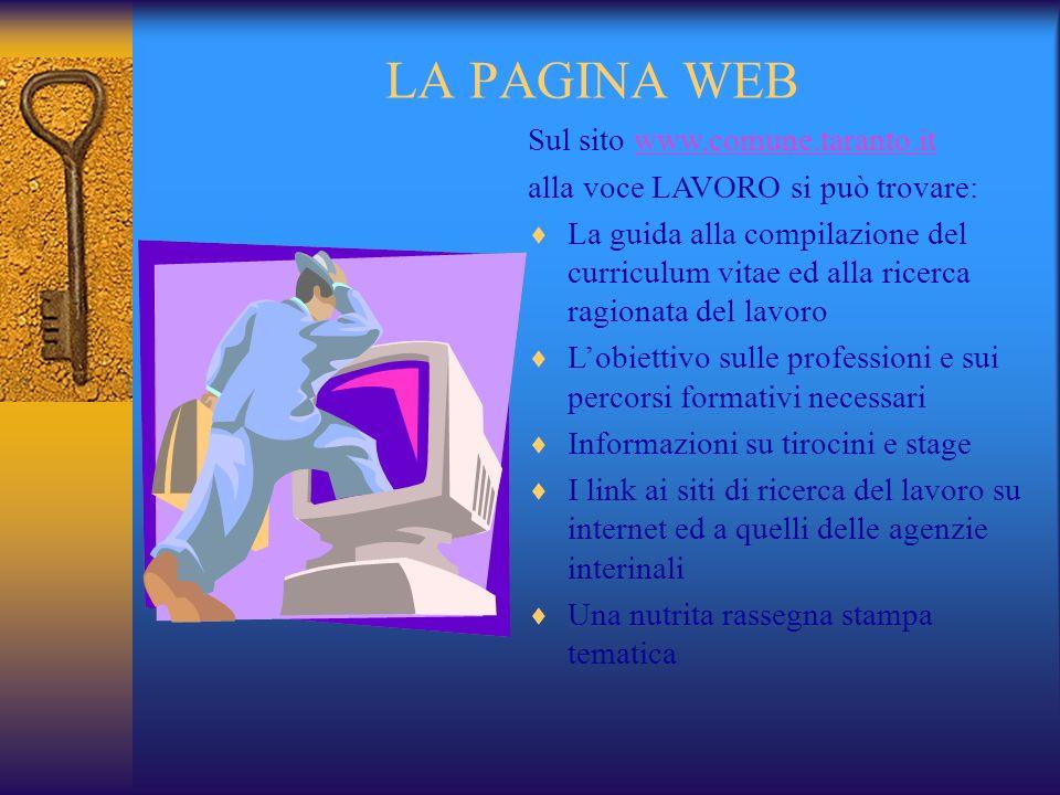 LA PAGINA WEB Sul sito www.comune.taranto.it