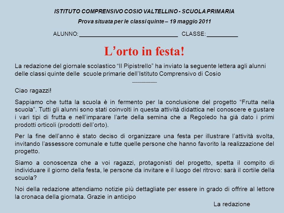 ISTITUTO COMPRENSIVO COSIO VALTELLINO - SCUOLA PRIMARIA