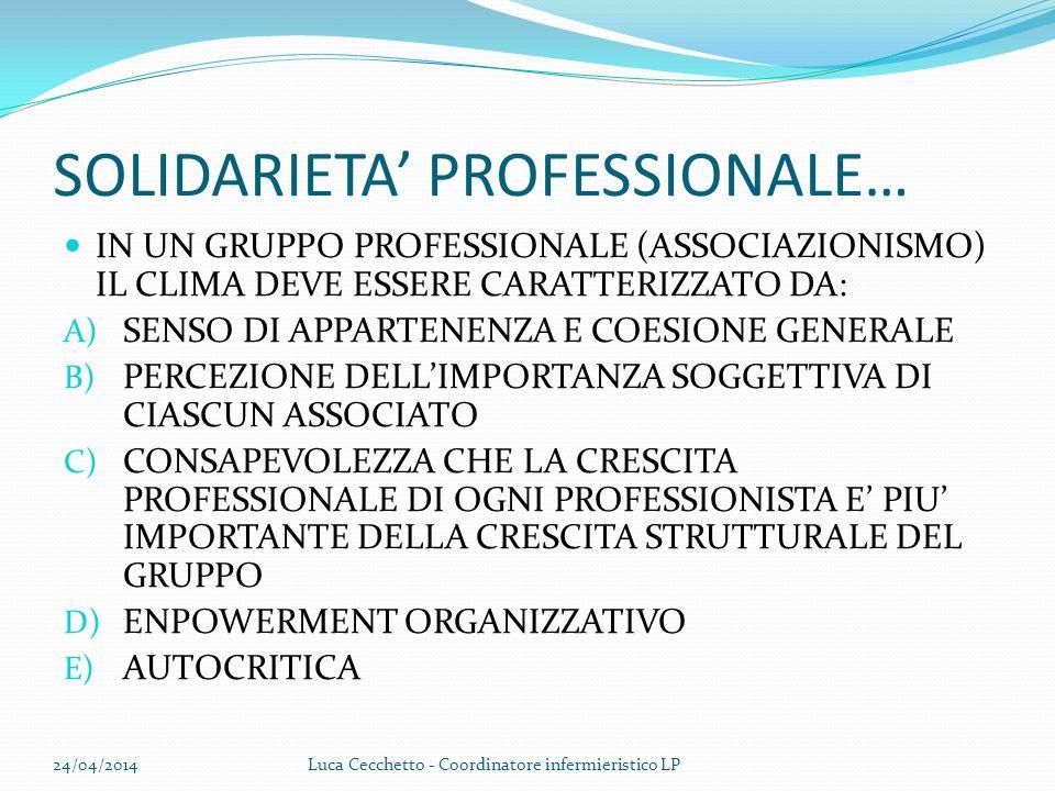 SOLIDARIETA' PROFESSIONALE…