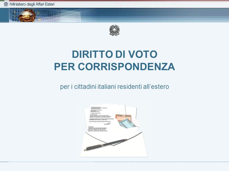 DIRITTO DI VOTO PER CORRISPONDENZA per i cittadini italiani residenti all'estero