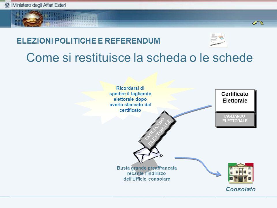 ELEZIONI POLITICHE E REFERENDUM