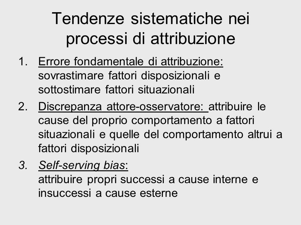 Tendenze sistematiche nei processi di attribuzione