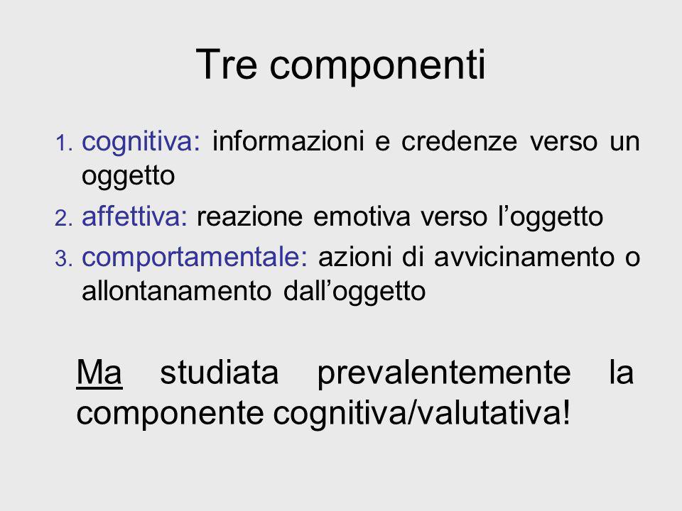 Tre componenti cognitiva: informazioni e credenze verso un oggetto. affettiva: reazione emotiva verso l'oggetto.