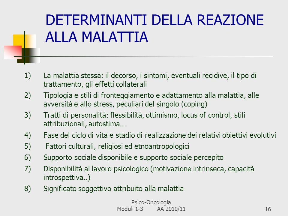 DETERMINANTI DELLA REAZIONE ALLA MALATTIA
