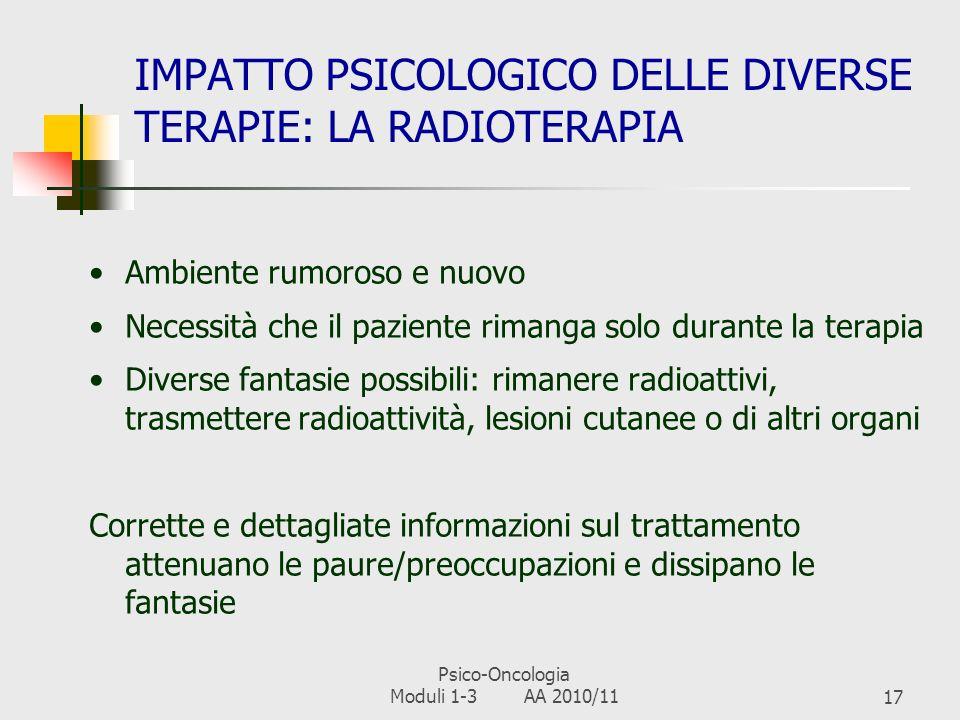 IMPATTO PSICOLOGICO DELLE DIVERSE TERAPIE: LA RADIOTERAPIA