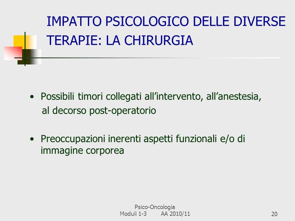 IMPATTO PSICOLOGICO DELLE DIVERSE TERAPIE: LA CHIRURGIA