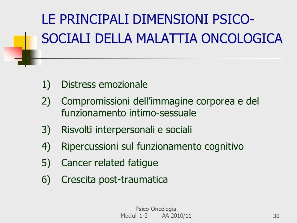 LE PRINCIPALI DIMENSIONI PSICO-SOCIALI DELLA MALATTIA ONCOLOGICA