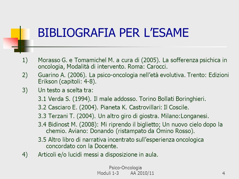 BIBLIOGRAFIA PER L'ESAME
