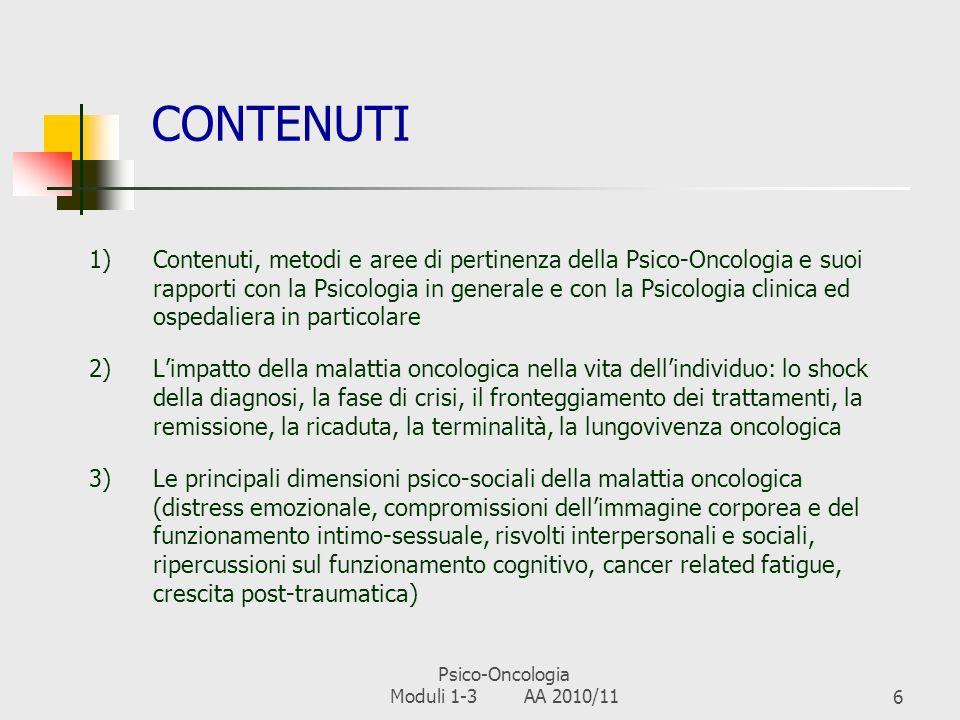 Psico-Oncologia Moduli 1-3 AA 2010/11
