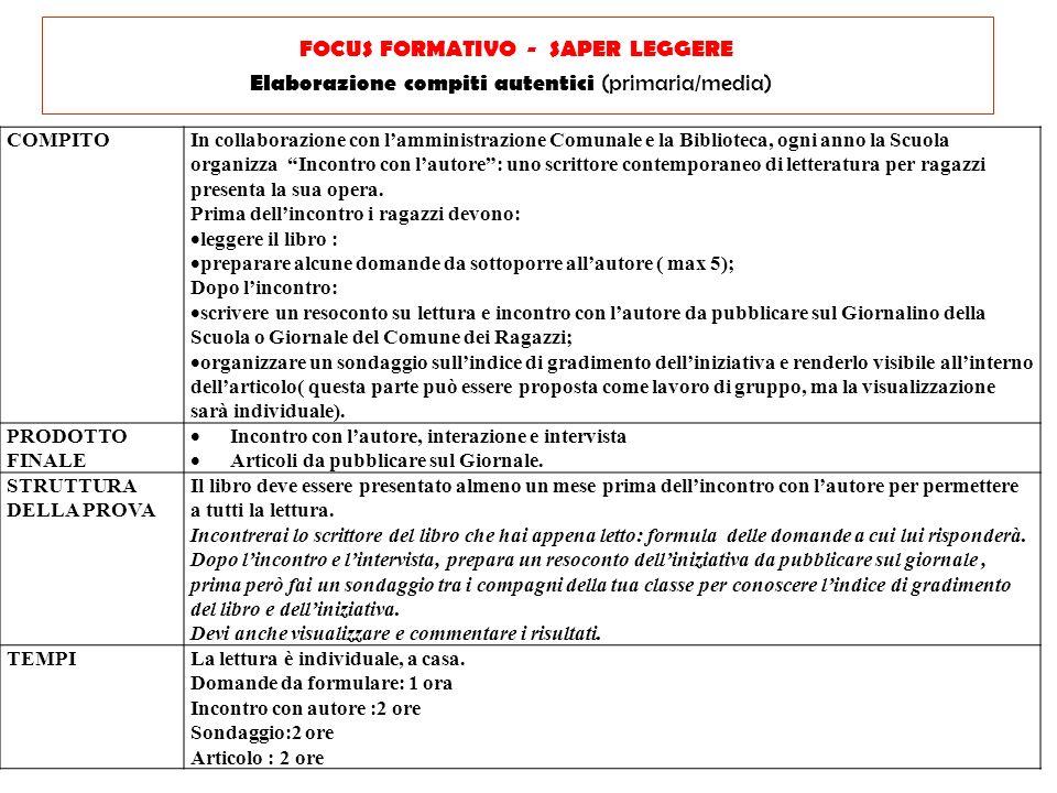 FOCUS FORMATIVO - SAPER LEGGERE Elaborazione compiti autentici (primaria/media)
