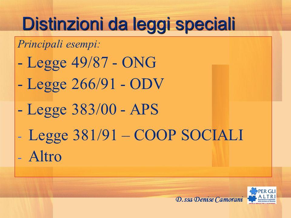 Distinzioni da leggi speciali