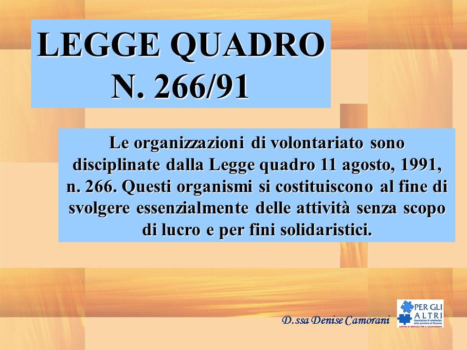 LEGGE QUADRO N. 266/91