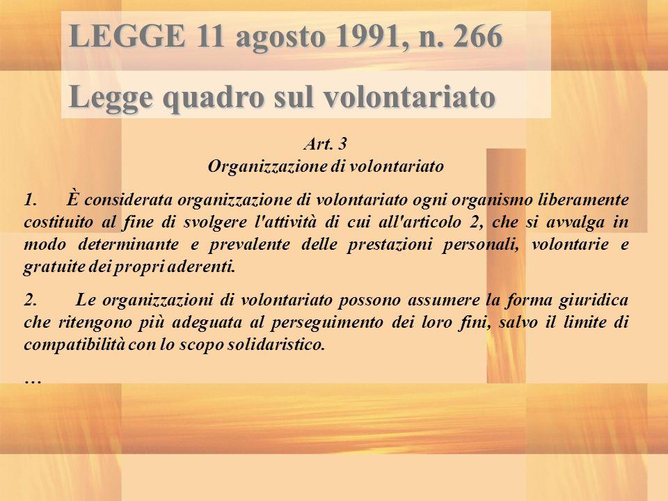 Art. 3 Organizzazione di volontariato