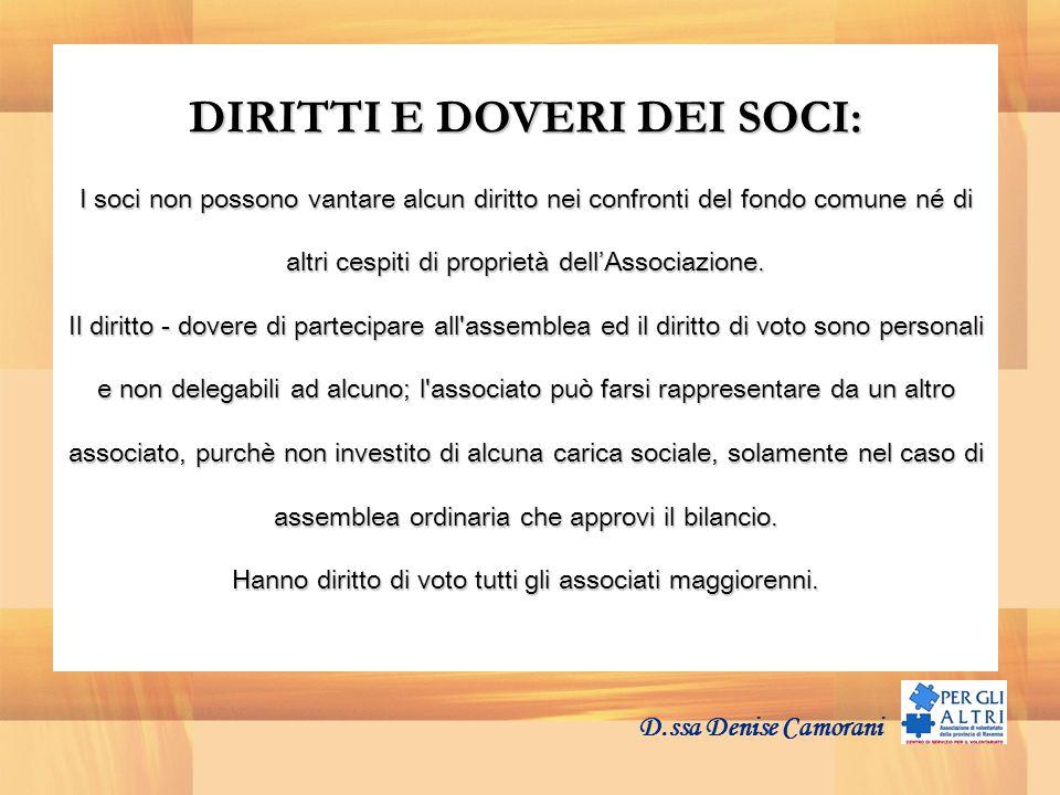 DIRITTI E DOVERI DEI SOCI: