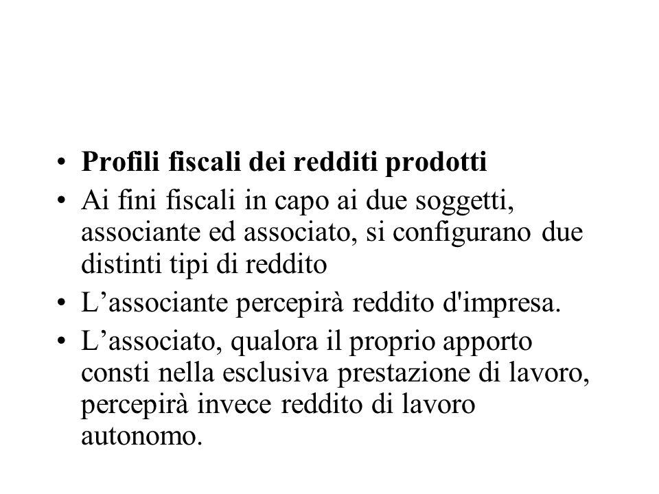 Profili fiscali dei redditi prodotti