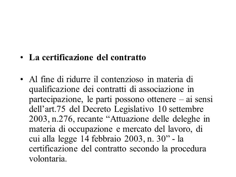 La certificazione del contratto