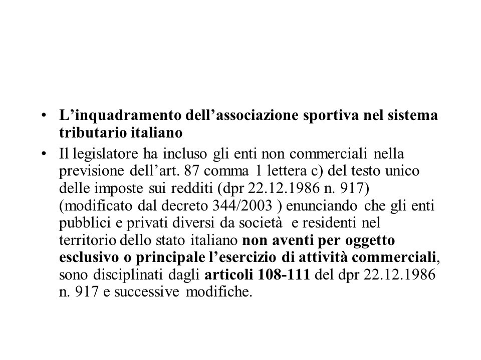 L'inquadramento dell'associazione sportiva nel sistema tributario italiano
