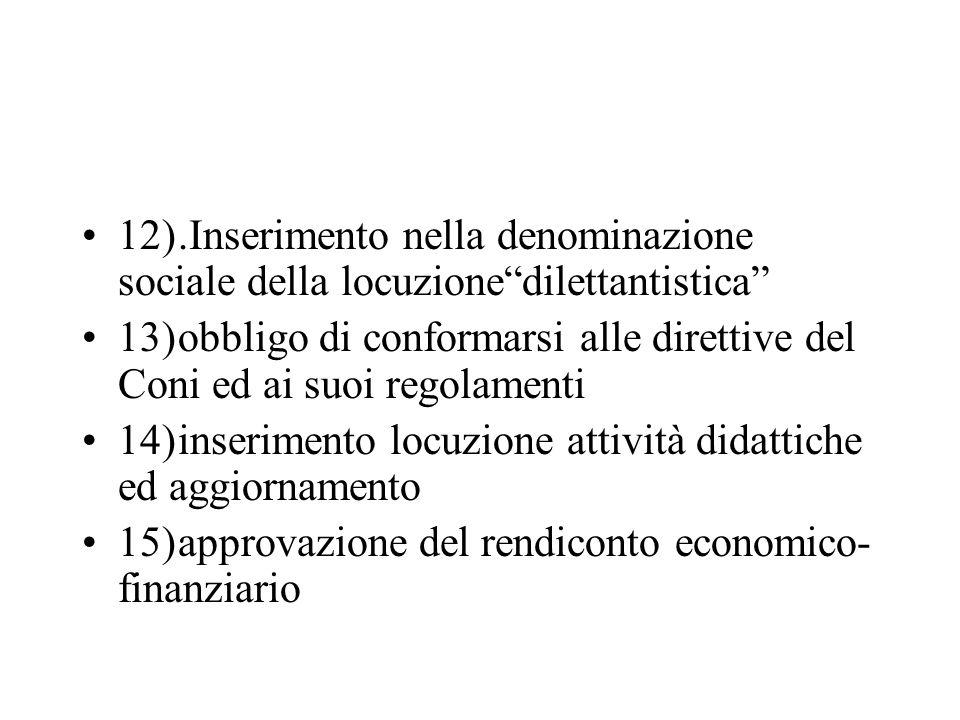 12) .Inserimento nella denominazione sociale della locuzione dilettantistica