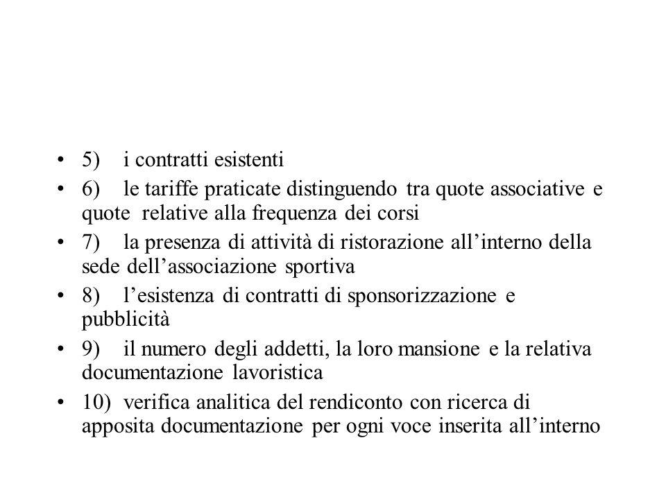 5) i contratti esistenti