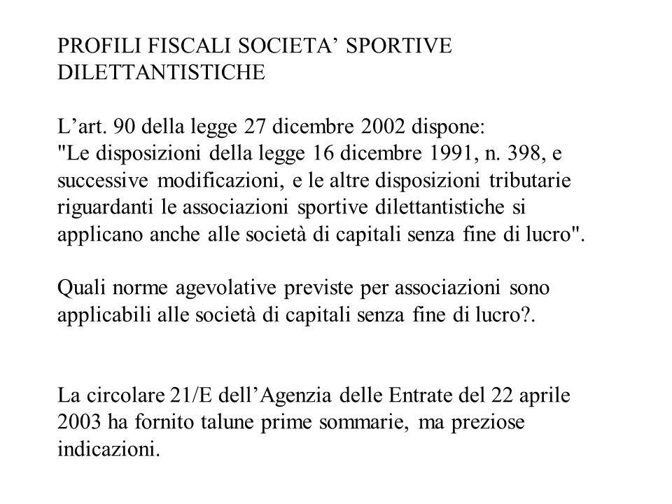 PROFILI FISCALI SOCIETA' SPORTIVE DILETTANTISTICHE L'art