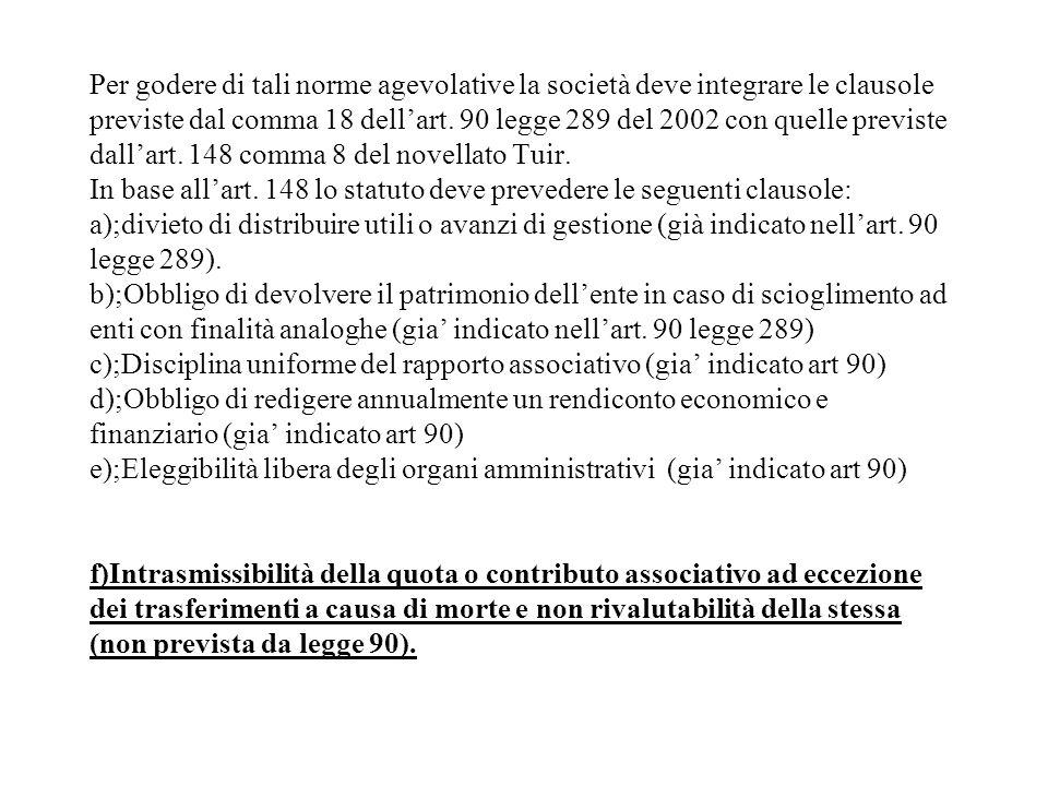 Per godere di tali norme agevolative la società deve integrare le clausole previste dal comma 18 dell'art.