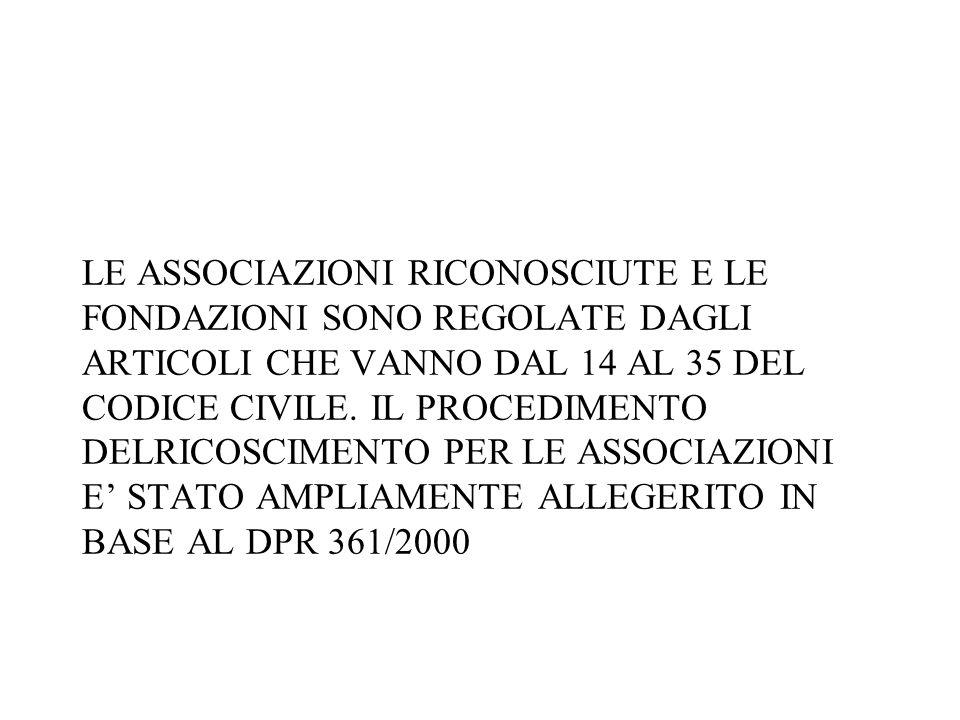 LE ASSOCIAZIONI RICONOSCIUTE E LE FONDAZIONI SONO REGOLATE DAGLI ARTICOLI CHE VANNO DAL 14 AL 35 DEL CODICE CIVILE.