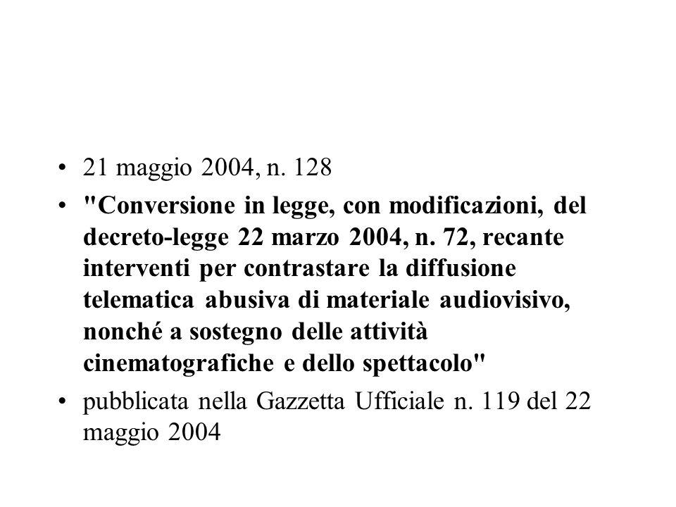 21 maggio 2004, n. 128