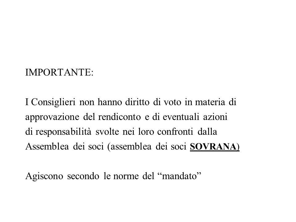 IMPORTANTE: I Consiglieri non hanno diritto di voto in materia di. approvazione del rendiconto e di eventuali azioni.