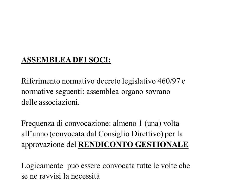 ASSEMBLEA DEI SOCI: Riferimento normativo decreto legislativo 460/97 e. normative seguenti: assemblea organo sovrano.