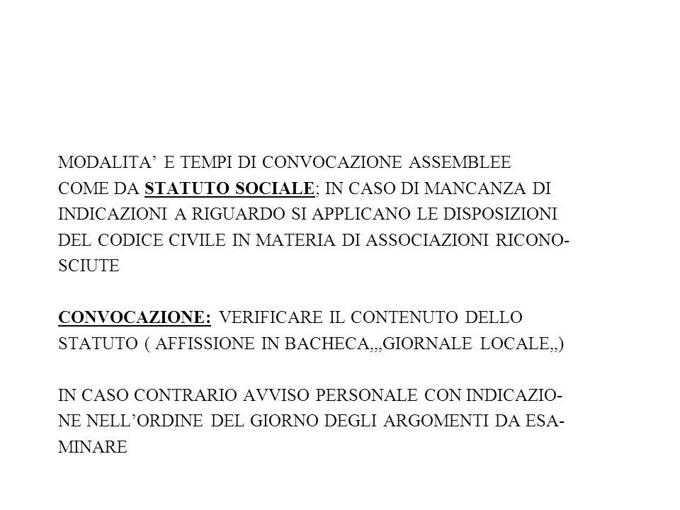 MODALITA' E TEMPI DI CONVOCAZIONE ASSEMBLEE