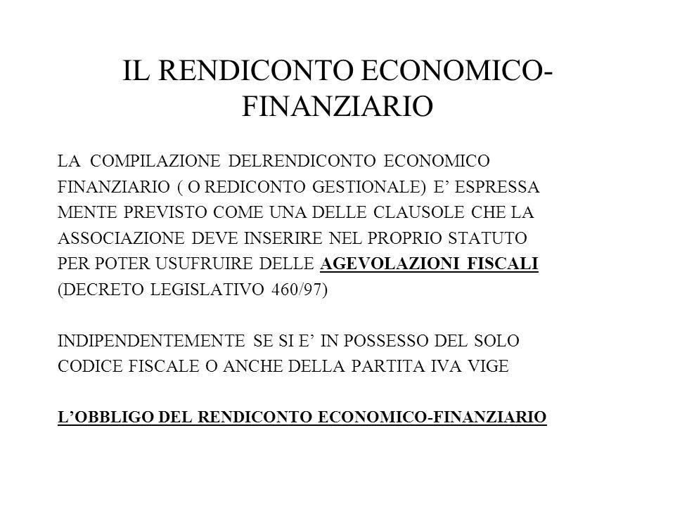 IL RENDICONTO ECONOMICO-FINANZIARIO