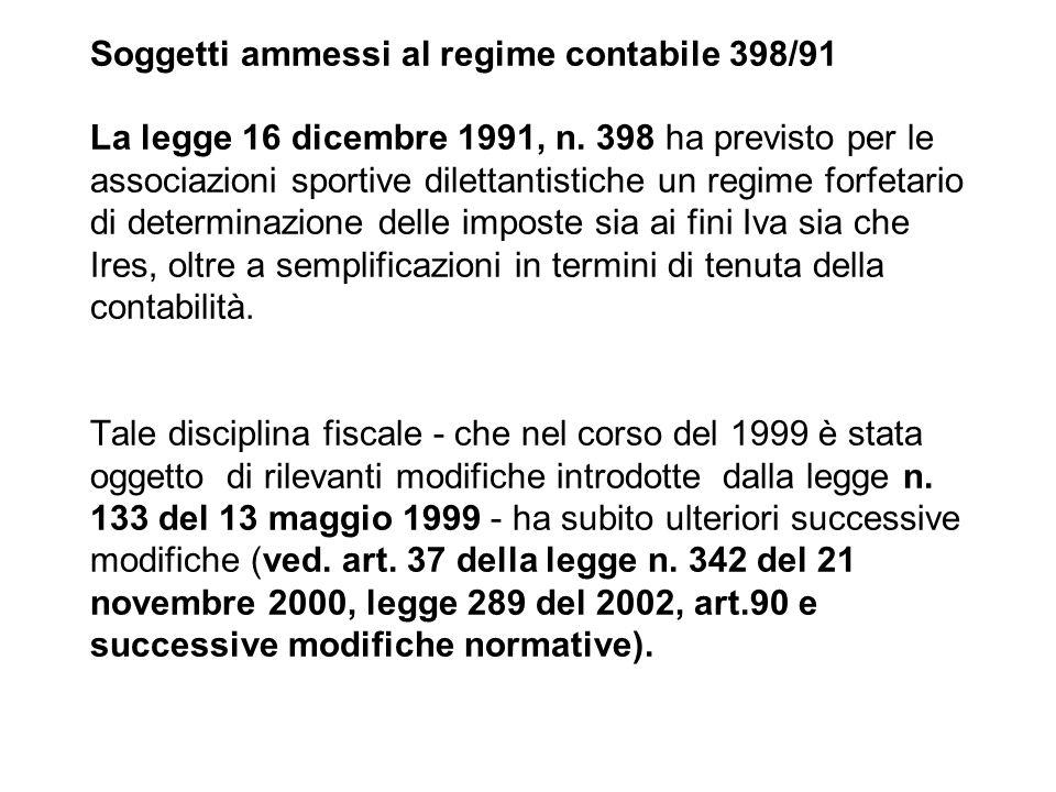 Soggetti ammessi al regime contabile 398/91 La legge 16 dicembre 1991, n.