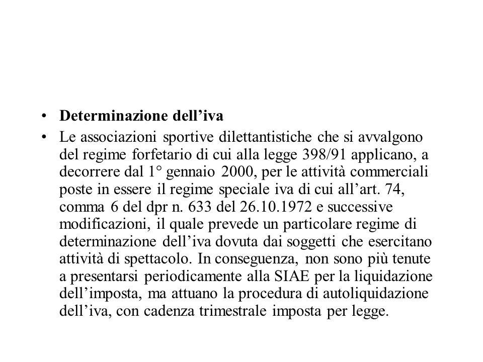 Determinazione dell'iva